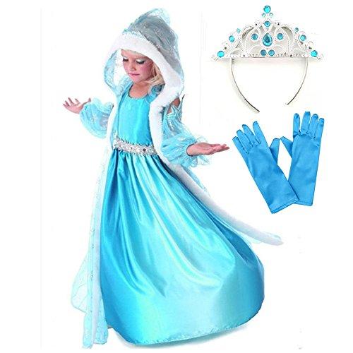 Geniales Disfraz De Vestido Princesa Con Capa Capuchada Mangas Azul Estampadas De Copos De Nieve Para Niñas 3 8 Años